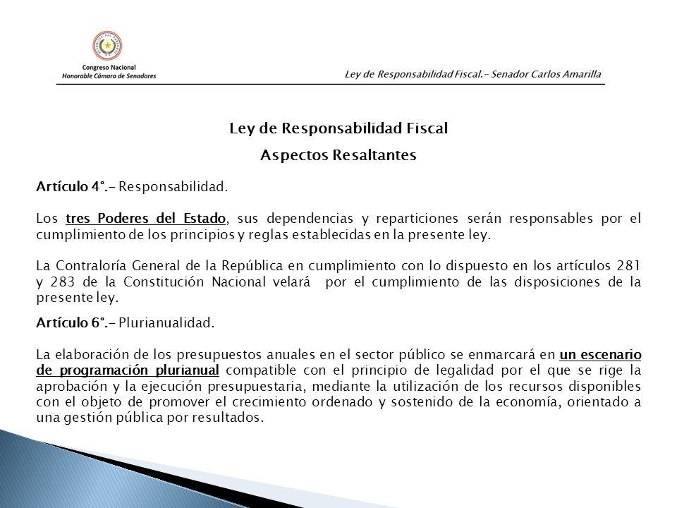 Ley de Responsabilidad Fiscal Aspectos Resaltantes Artículo 4°.- Responsabilidad.