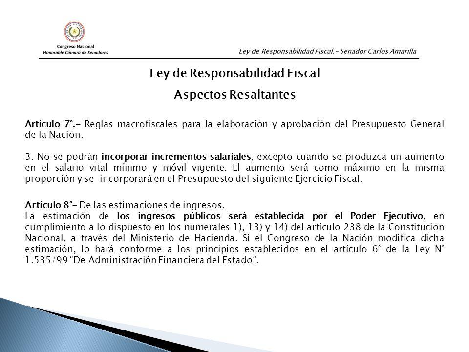 Artículo 7°.- Reglas macrofiscales para la elaboración y aprobación del Presupuesto General de la Nación.