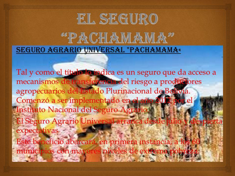 SEGURO AGRARIO UNIVERSAL PACHAMAMA« Tal y como el título lo indica es un seguro que da acceso a mecanismos de transferencia del riesgo a productores agropecuarios del Estado Plurinacional de Bolivia.