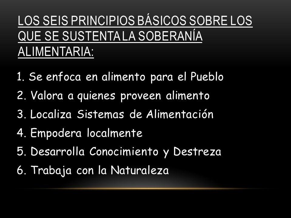 LOS SEIS PRINCIPIOS BÁSICOS SOBRE LOS QUE SE SUSTENTA LA SOBERANÍA ALIMENTARIA: 1.