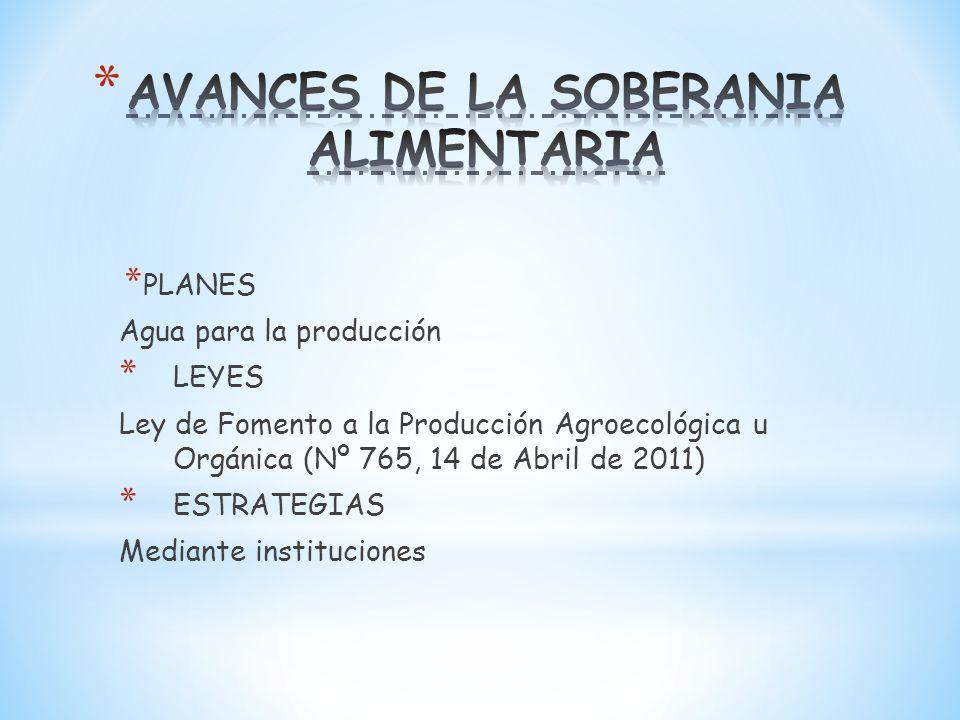 * PLANES Agua para la producción * LEYES Ley de Fomento a la Producción Agroecológica u Orgánica (Nº 765, 14 de Abril de 2011) * ESTRATEGIAS Mediante instituciones