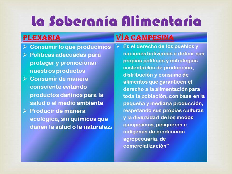  La Soberanía Alimentaria PlenariaVía Campesina  Consumir lo que producimos  Políticas adecuadas para proteger y promocionar nuestros productos  Consumir de manera consciente evitando productos dañinos para la salud o el medio ambiente  Producir de manera ecológica, sin químicos que dañen la salud o la naturalez a  Es el derecho de los pueblos y naciones bolivianas a definir sus propias políticas y estrategias sustentables de producción, distribución y consumo de alimentos que garanticen el derecho a la alimentación para toda la población, con base en la pequeña y mediana producción, respetando sus propias culturas y la diversidad de los modos campesinos, pesqueros e indígenas de producción agropecuaria, de comercialización