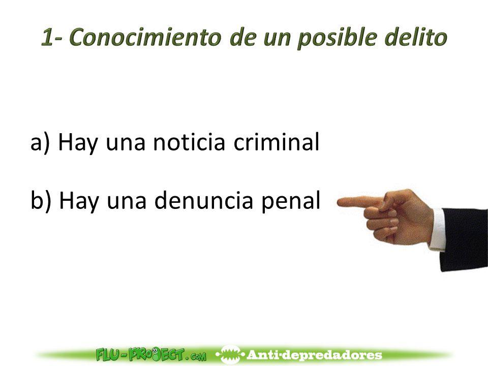 a)Hay una noticia criminal b) Hay una denuncia penal
