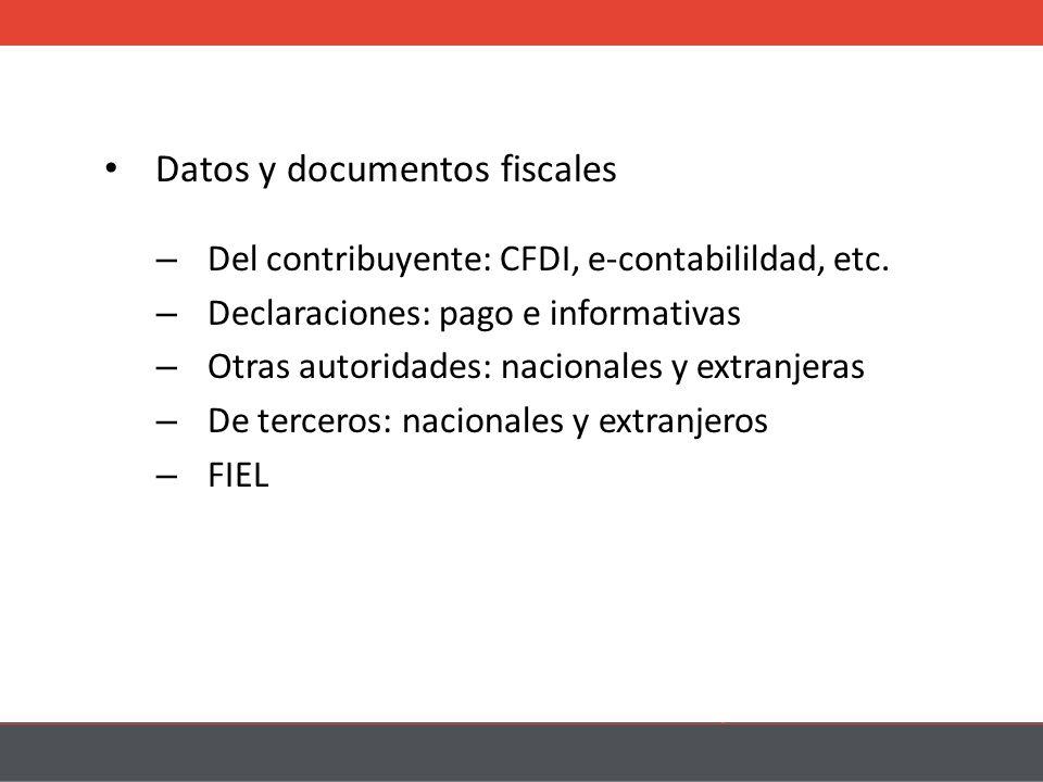 Datos y documentos fiscales – Del contribuyente: CFDI, e-contabilildad, etc.