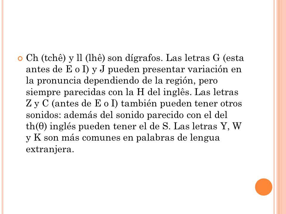 Ch (tchê) y ll (lhê) son dígrafos.