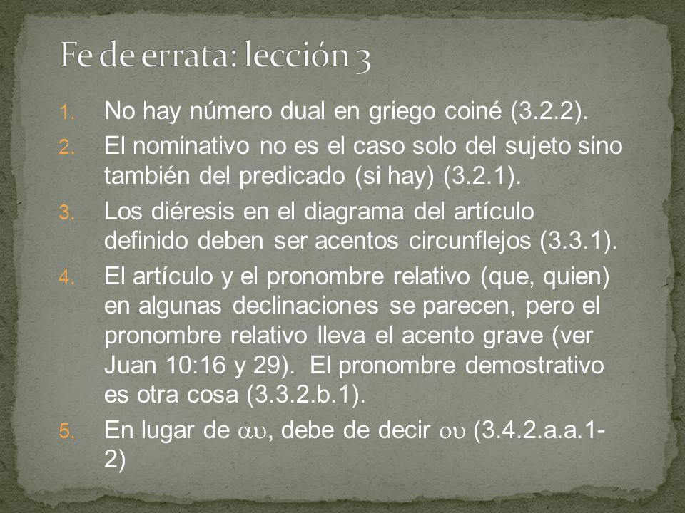 1. No hay número dual en griego coiné (3.2.2). 2.