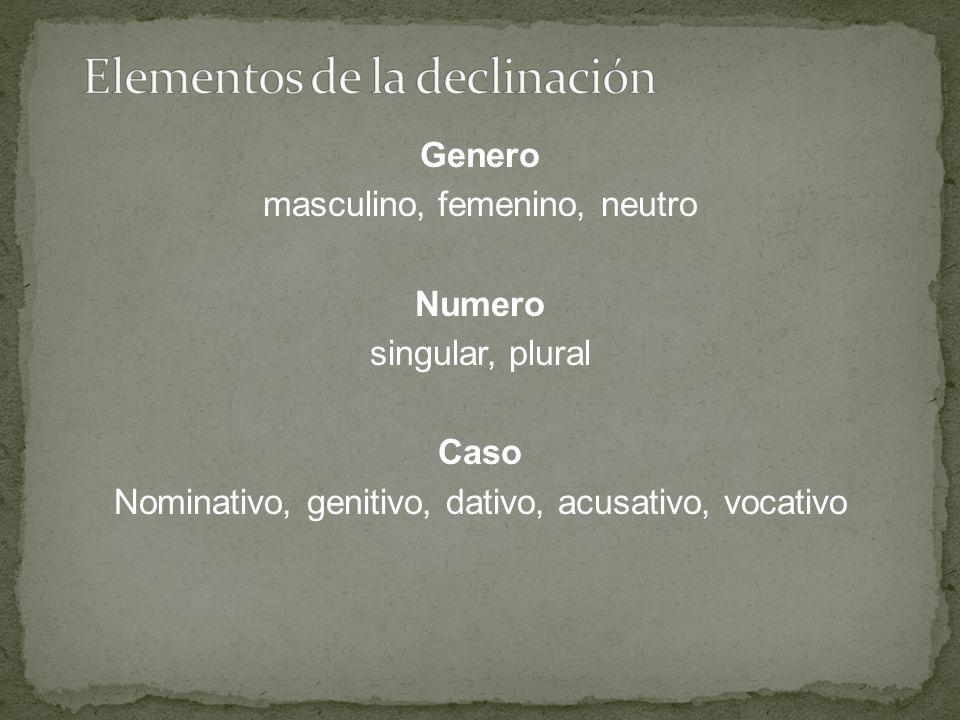 Genero masculino, femenino, neutro Numero singular, plural Caso Nominativo, genitivo, dativo, acusativo, vocativo