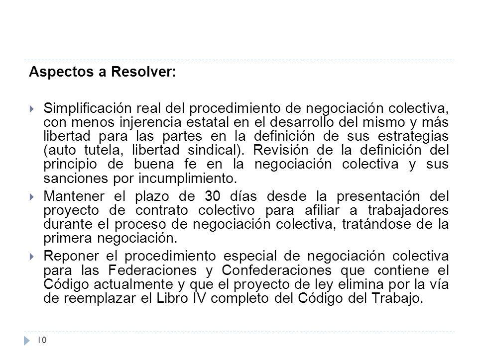 Aspectos a Resolver:  Simplificación real del procedimiento de negociación colectiva, con menos injerencia estatal en el desarrollo del mismo y más libertad para las partes en la definición de sus estrategias (auto tutela, libertad sindical).