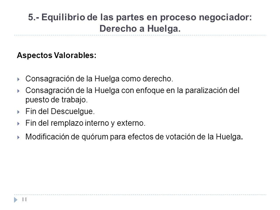 5.- Equilibrio de las partes en proceso negociador: Derecho a Huelga.