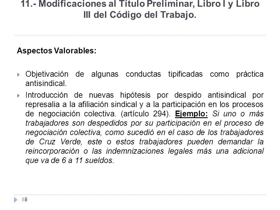 11.- Modificaciones al Título Preliminar, Libro I y Libro III del Código del Trabajo.