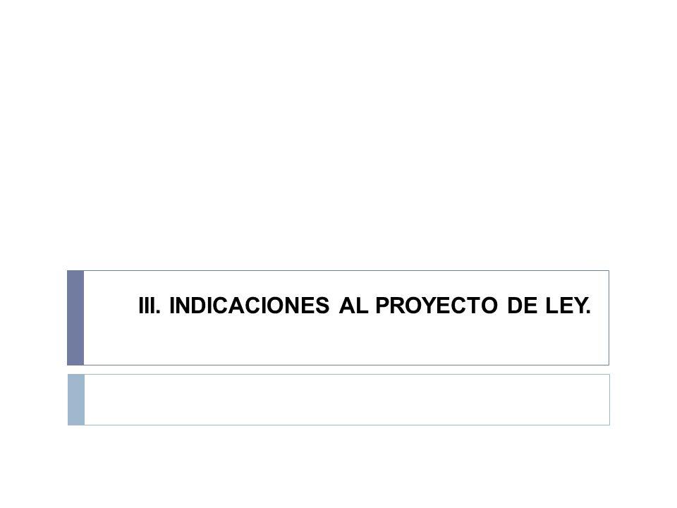 III. INDICACIONES AL PROYECTO DE LEY.