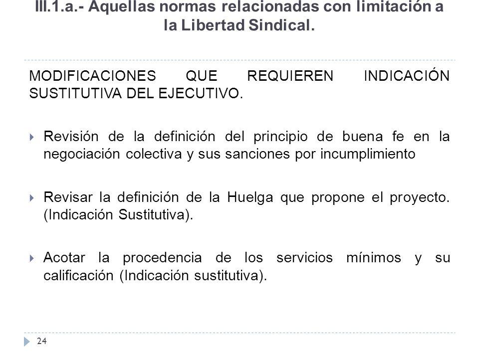 III.1.a.- Aquellas normas relacionadas con limitación a la Libertad Sindical.
