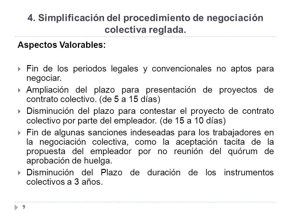 4. Simplificación del procedimiento de negociación colectiva reglada.