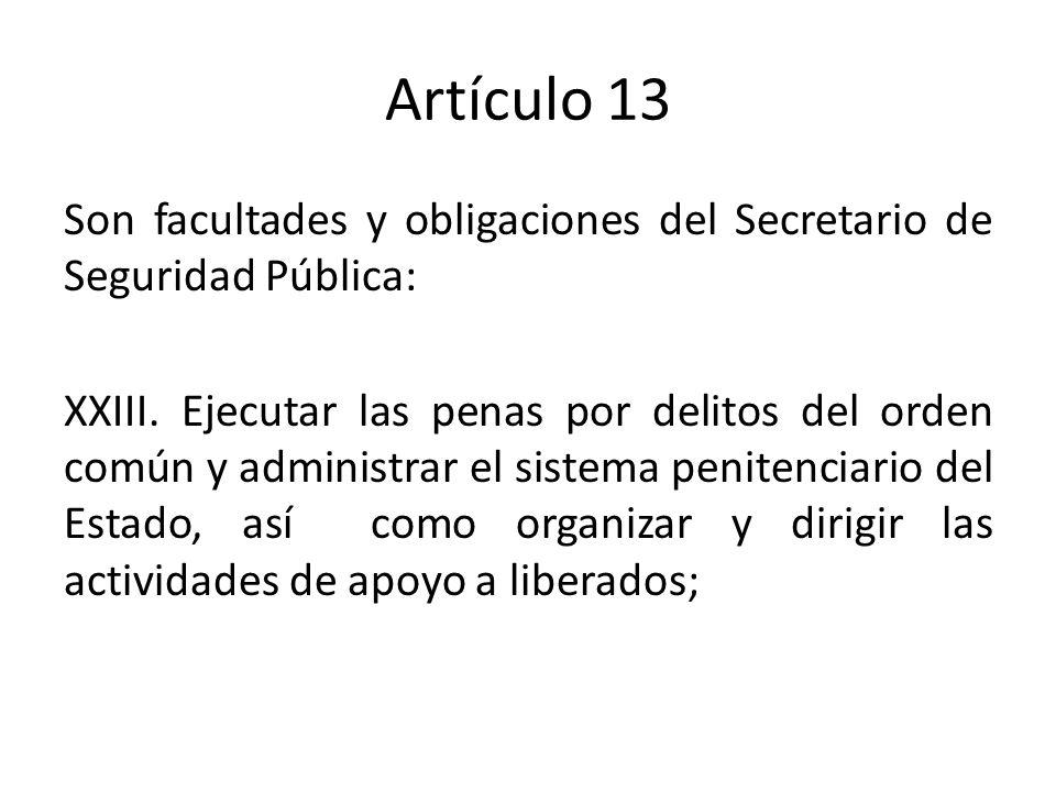 Artículo 13 Son facultades y obligaciones del Secretario de Seguridad Pública: XXIII.