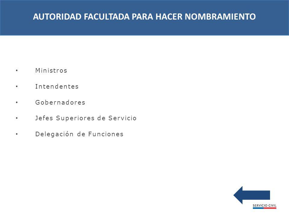 Ministros Intendentes Gobernadores Jefes Superiores de Servicio Delegación de Funciones AUTORIDAD FACULTADA PARA HACER NOMBRAMIENTO