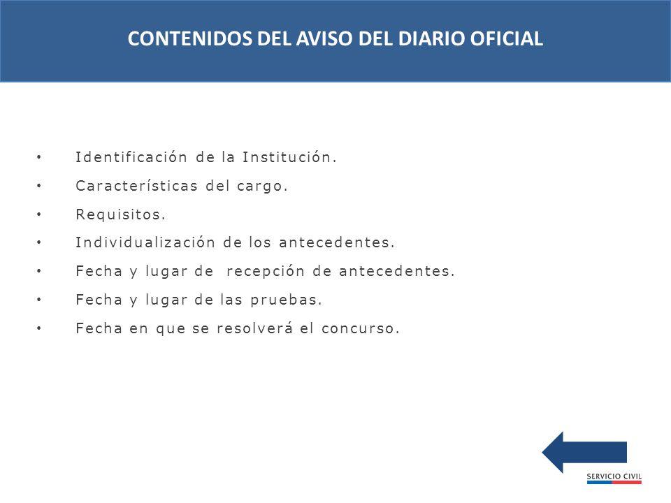 Identificación de la Institución. Características del cargo.