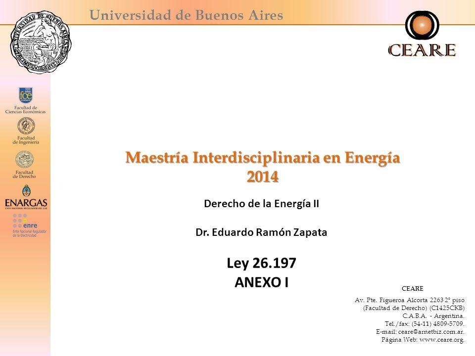 Universidad de Buenos Aires Maestría Interdisciplinaria en Energía 2014 Derecho de la Energía II Dr.