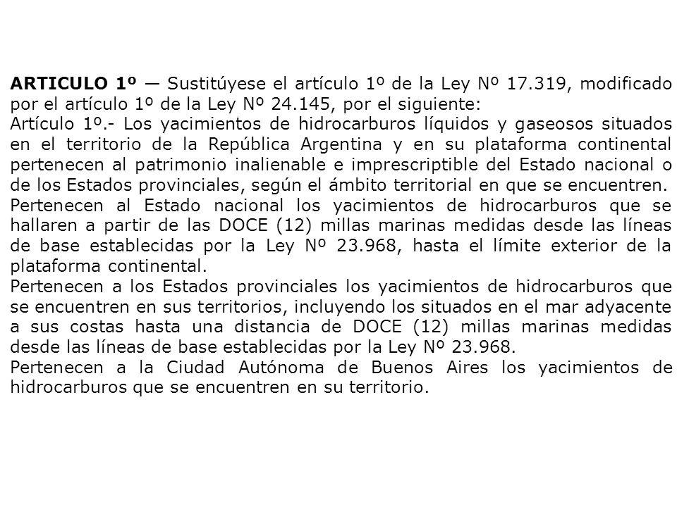 ARTICULO 1º — Sustitúyese el artículo 1º de la Ley Nº 17.319, modificado por el artículo 1º de la Ley Nº 24.145, por el siguiente: Artículo 1º.- Los yacimientos de hidrocarburos líquidos y gaseosos situados en el territorio de la República Argentina y en su plataforma continental pertenecen al patrimonio inalienable e imprescriptible del Estado nacional o de los Estados provinciales, según el ámbito territorial en que se encuentren.