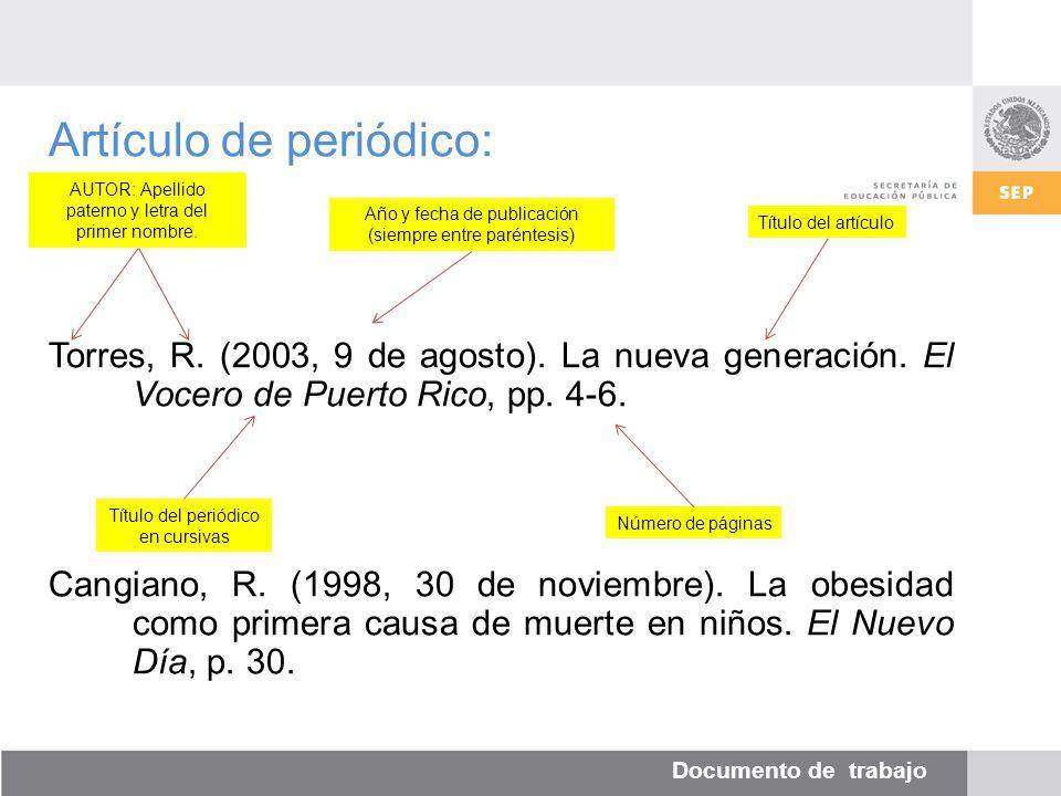 Documento de trabajo Artículo de periódico: Torres, R.