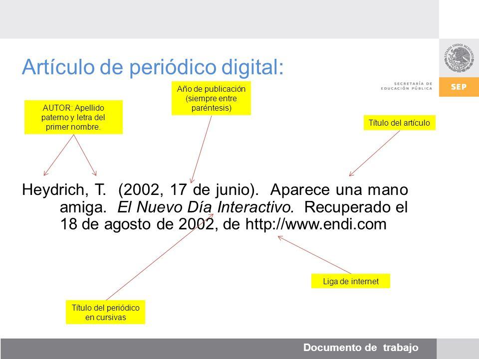 Documento de trabajo Artículo de periódico digital: Heydrich, T.