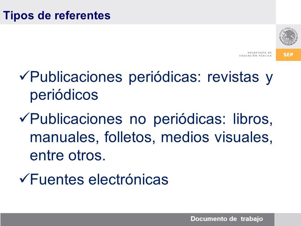 Documento de trabajo Tipos de referentes Publicaciones periódicas: revistas y periódicos Publicaciones no periódicas: libros, manuales, folletos, medios visuales, entre otros.