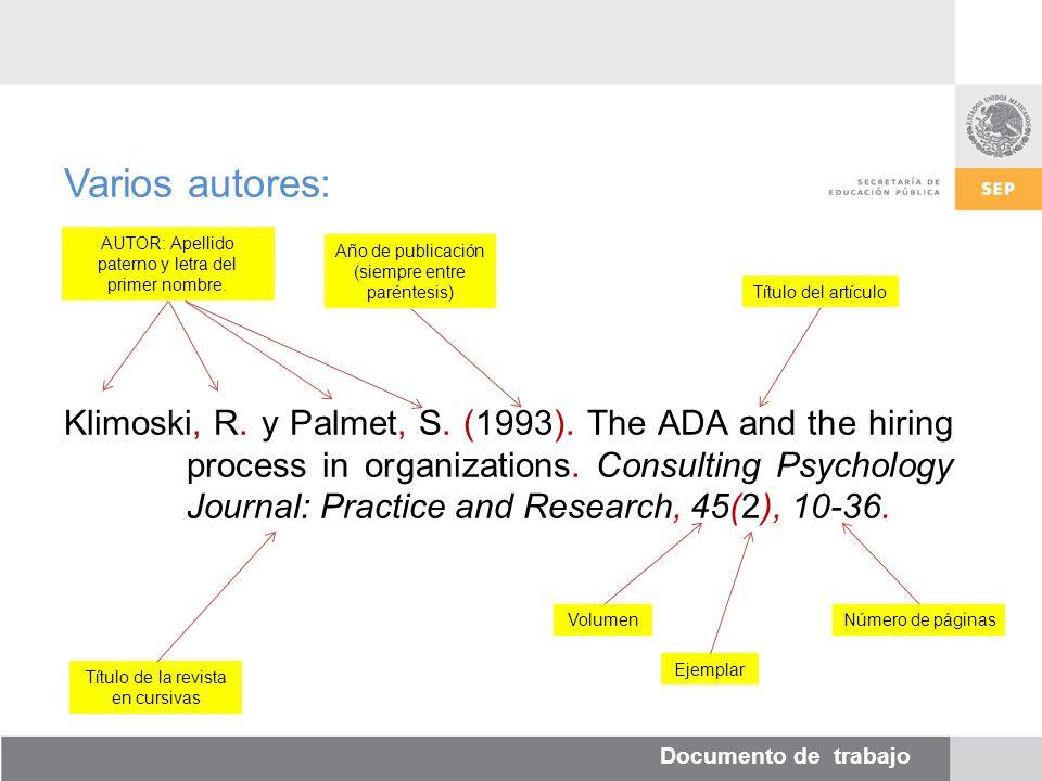 Documento de trabajo Varios autores: Klimoski, R. y Palmet, S.
