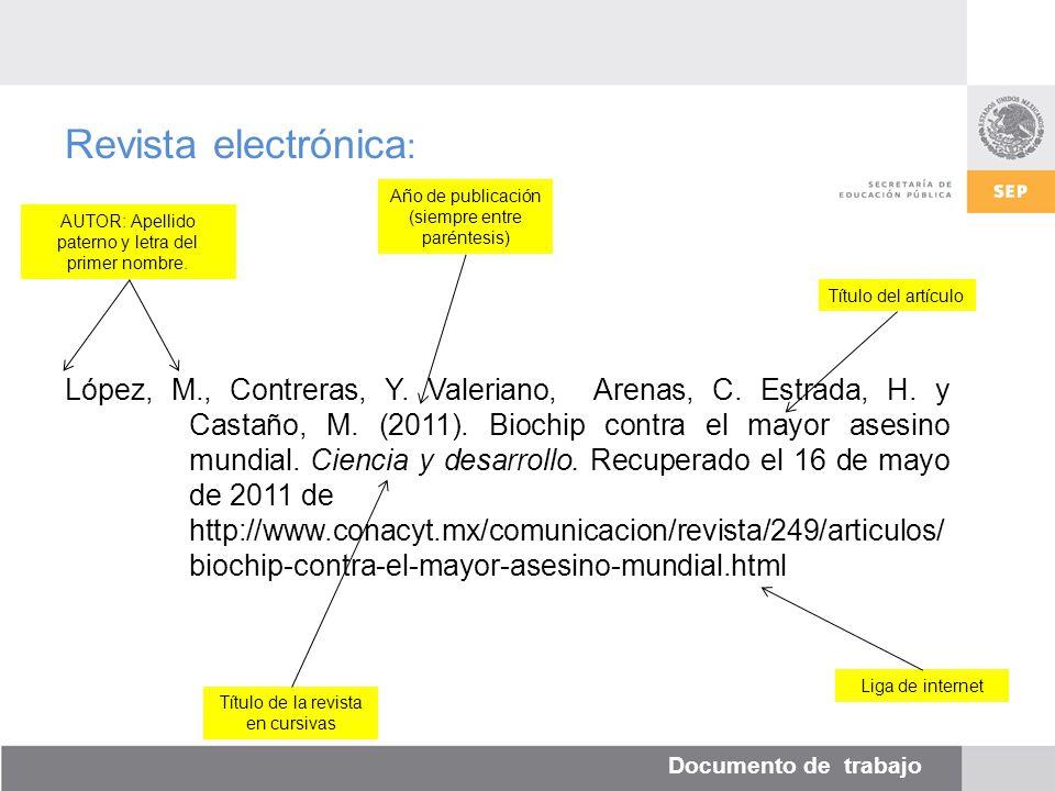 Documento de trabajo Revista electrónica : López, M., Contreras, Y.