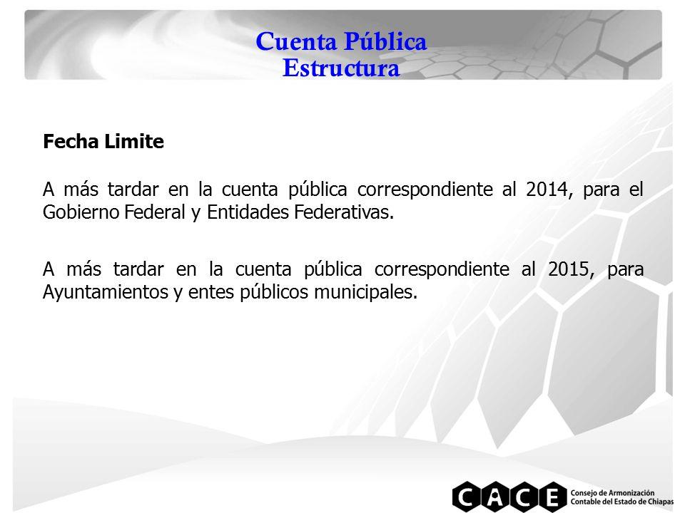 Cuenta Pública Estructura Fecha Limite A más tardar en la cuenta pública correspondiente al 2014, para el Gobierno Federal y Entidades Federativas.