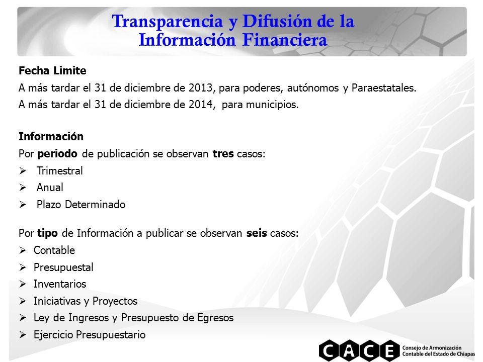 Transparencia y Difusión de la Información Financiera Fecha Limite A más tardar el 31 de diciembre de 2013, para poderes, autónomos y Paraestatales.