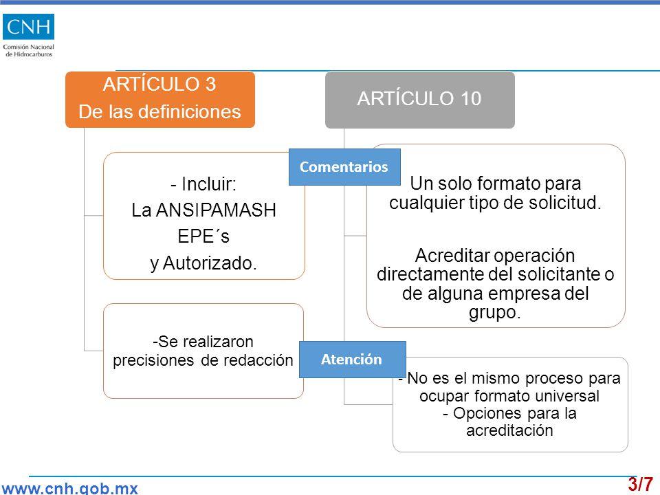 ARTÍCULO 3 De las definiciones - Incluir: La ANSIPAMASH EPE´s y Autorizado.