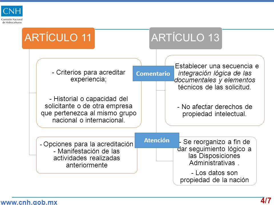 ARTÍCULO 11 - Criterios para acreditar experiencia; - Historial o capacidad del solicitante o de otra empresa que pertenezca al mismo grupo nacional o internacional.
