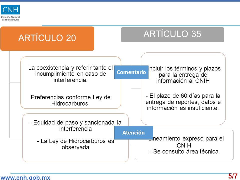 ARTÍCULO 20 La coexistencia y referir tanto el incumplimiento en caso de interferencia.