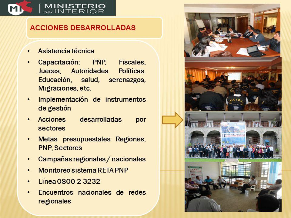 ACCIONES DESARROLLADAS Asistencia técnica Capacitación: PNP, Fiscales, Jueces, Autoridades Políticas.