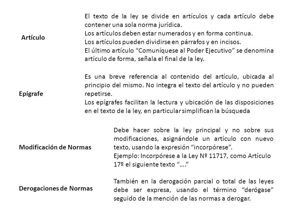 Artículo El texto de la ley se divide en artículos y cada artículo debe contener una sola norma jurídica.