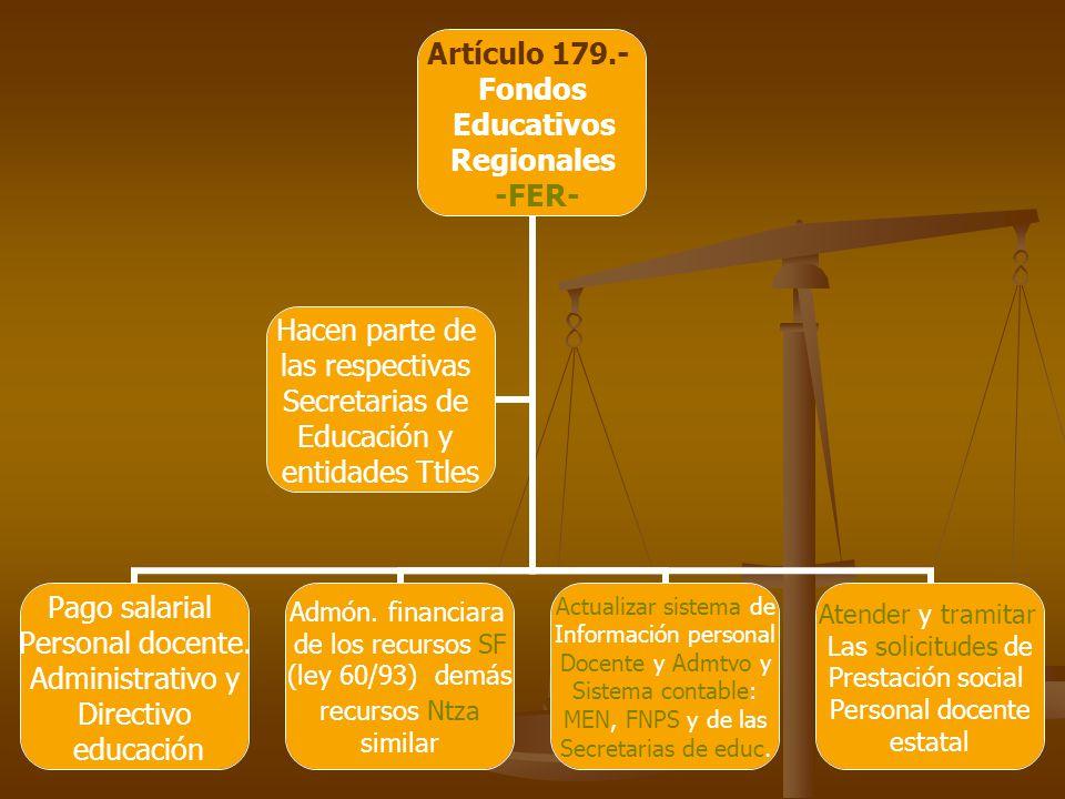 Artículo 179.- Fondos Educativos Regionales -FER- Pago salarial Personal docente.
