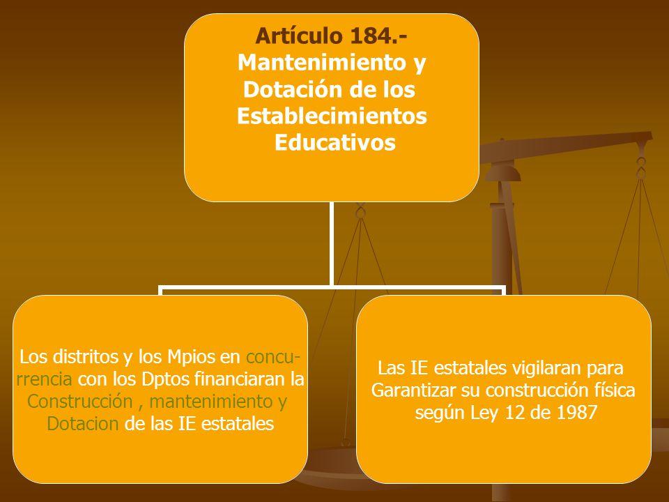 Artículo 184.- Mantenimiento y Dotación de los Establecimientos Educativos Los distritos y los Mpios en concu- rrencia con los Dptos financiaran la Construcción, mantenimiento y Dotacion de las IE estatales Las IE estatales vigilaran para Garantizar su construcción física según Ley 12 de 1987