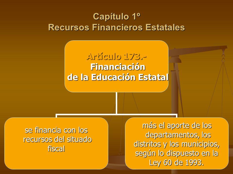 Capítulo 1º Recursos Financieros Estatales Artículo 173.- Financiación Financiación de la Educación Estatal de la Educación Estatal se financia con los recursos del situado recursos del situado fiscal fiscal más el aporte de los departamentos, los departamentos, los distritos y los municipios, distritos y los municipios, según lo dispuesto en la Ley 60 de 1993.