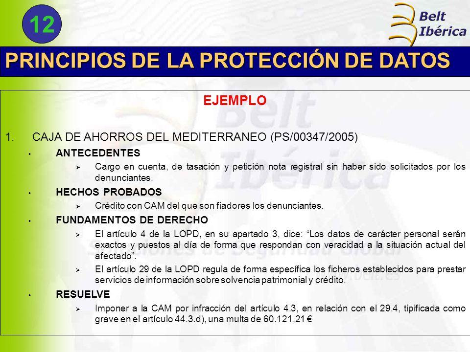PRINCIPIOS DE LA PROTECCIÓN DE DATOS EJEMPLO 1.CAJA DE AHORROS DEL MEDITERRANEO (PS/00347/2005) ANTECEDENTES  Cargo en cuenta, de tasación y petición nota registral sin haber sido solicitados por los denunciantes.