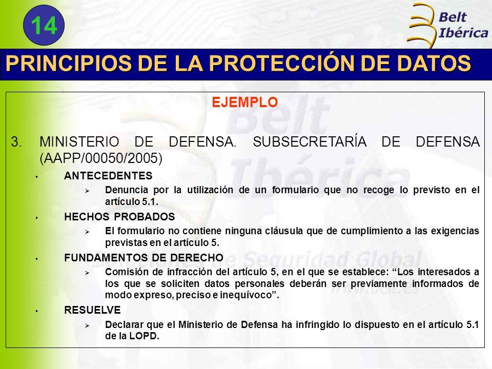 PRINCIPIOS DE LA PROTECCIÓN DE DATOS EJEMPLO 3.MINISTERIO DE DEFENSA.
