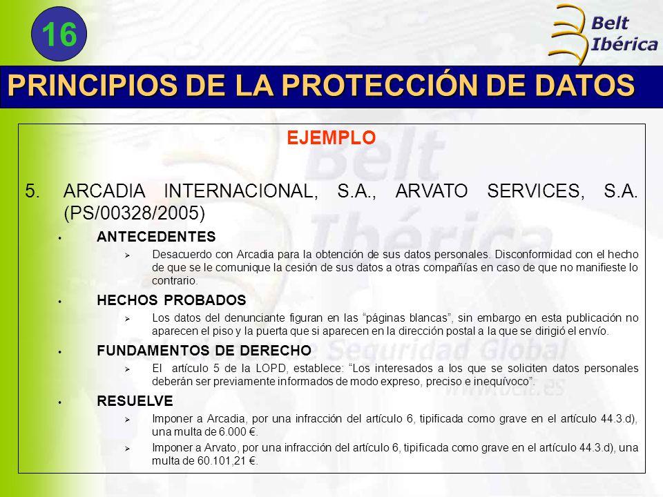 PRINCIPIOS DE LA PROTECCIÓN DE DATOS EJEMPLO 5.ARCADIA INTERNACIONAL, S.A., ARVATO SERVICES, S.A.