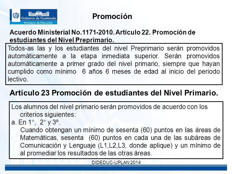 Promoción Acuerdo Ministerial No.1171-2010. Artículo 22.