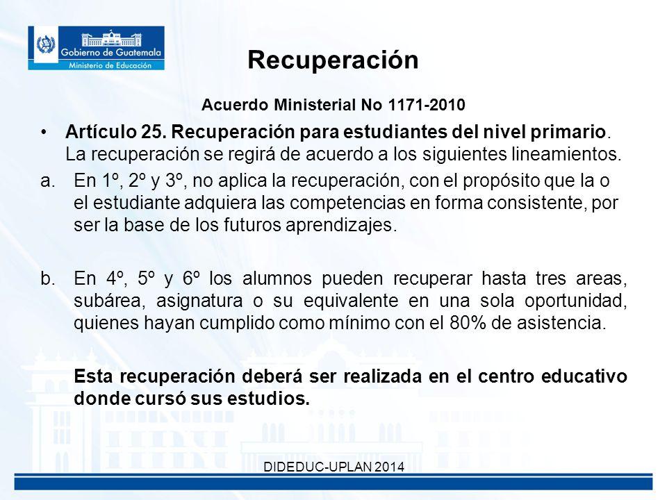 Recuperación Acuerdo Ministerial No 1171-2010 Artículo 25.