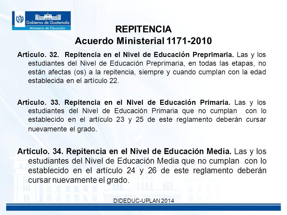 Artículo. 32. Repitencia en el Nivel de Educación Preprimaria.