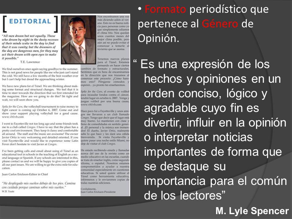Formato periodístico que pertenece al Género de Opinión.