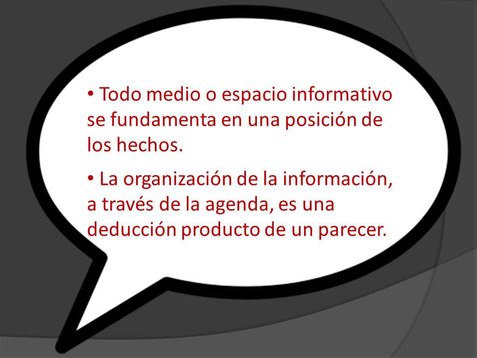 Todo medio o espacio informativo se fundamenta en una posición de los hechos.