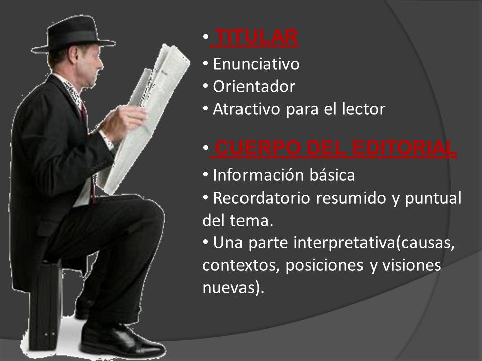 TITULAR Enunciativo Orientador Atractivo para el lector CUERPO DEL EDITORIAL Información básica Recordatorio resumido y puntual del tema.