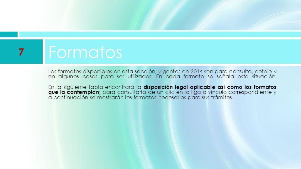 Los formatos disponibles en esta sección, vigentes en 2014 son para consulta, cotejo y en algunos casos para ser utilizados.