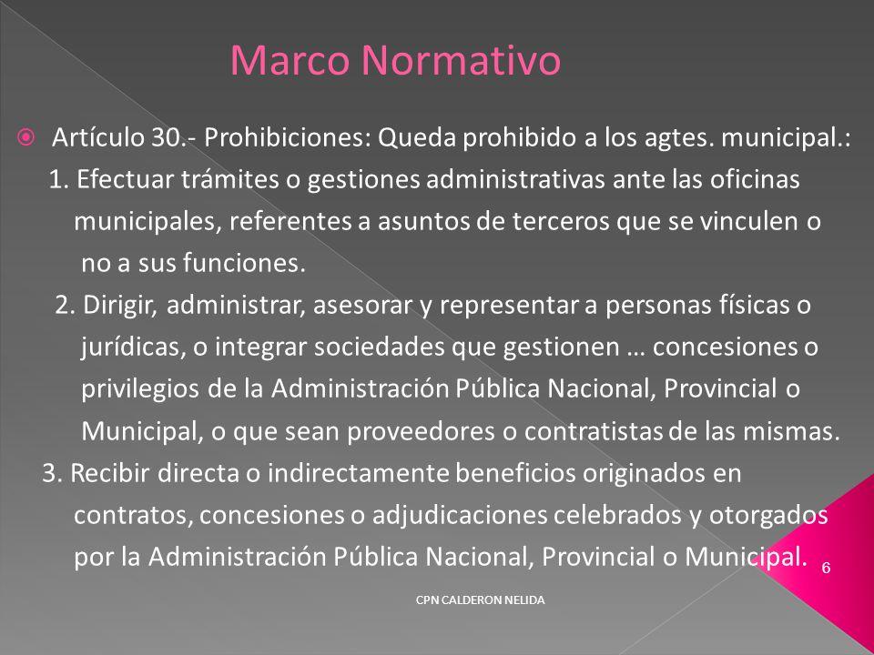 Artículo 30.- Prohibiciones: Queda prohibido a los agtes.