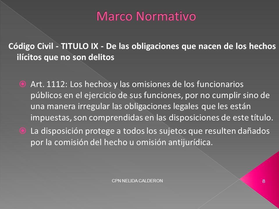 Código Civil - TITULO IX - De las obligaciones que nacen de los hechos ilícitos que no son delitos  Art.