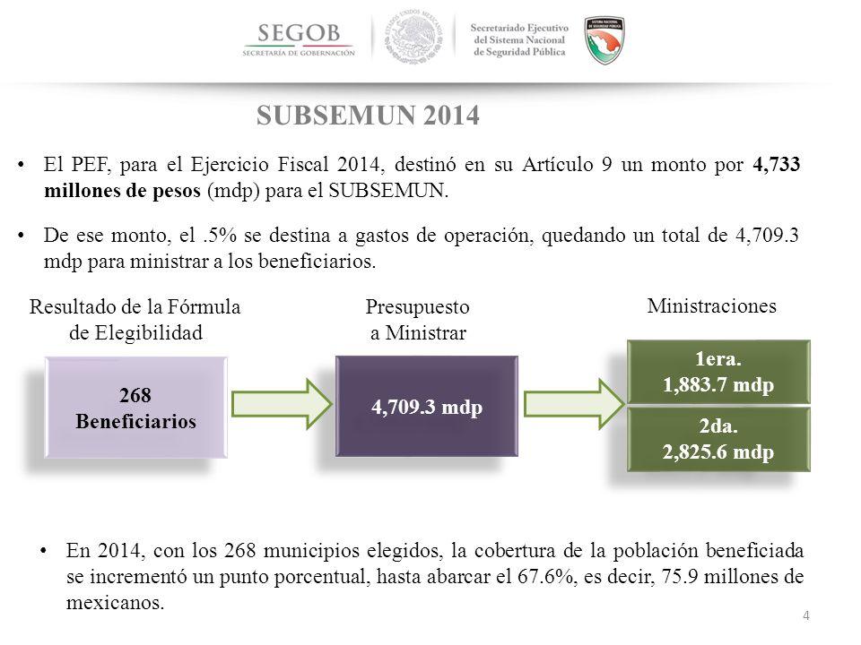 NACIONAL El PEF, para el Ejercicio Fiscal 2014, destinó en su Artículo 9 un monto por 4,733 millones de pesos (mdp) para el SUBSEMUN.